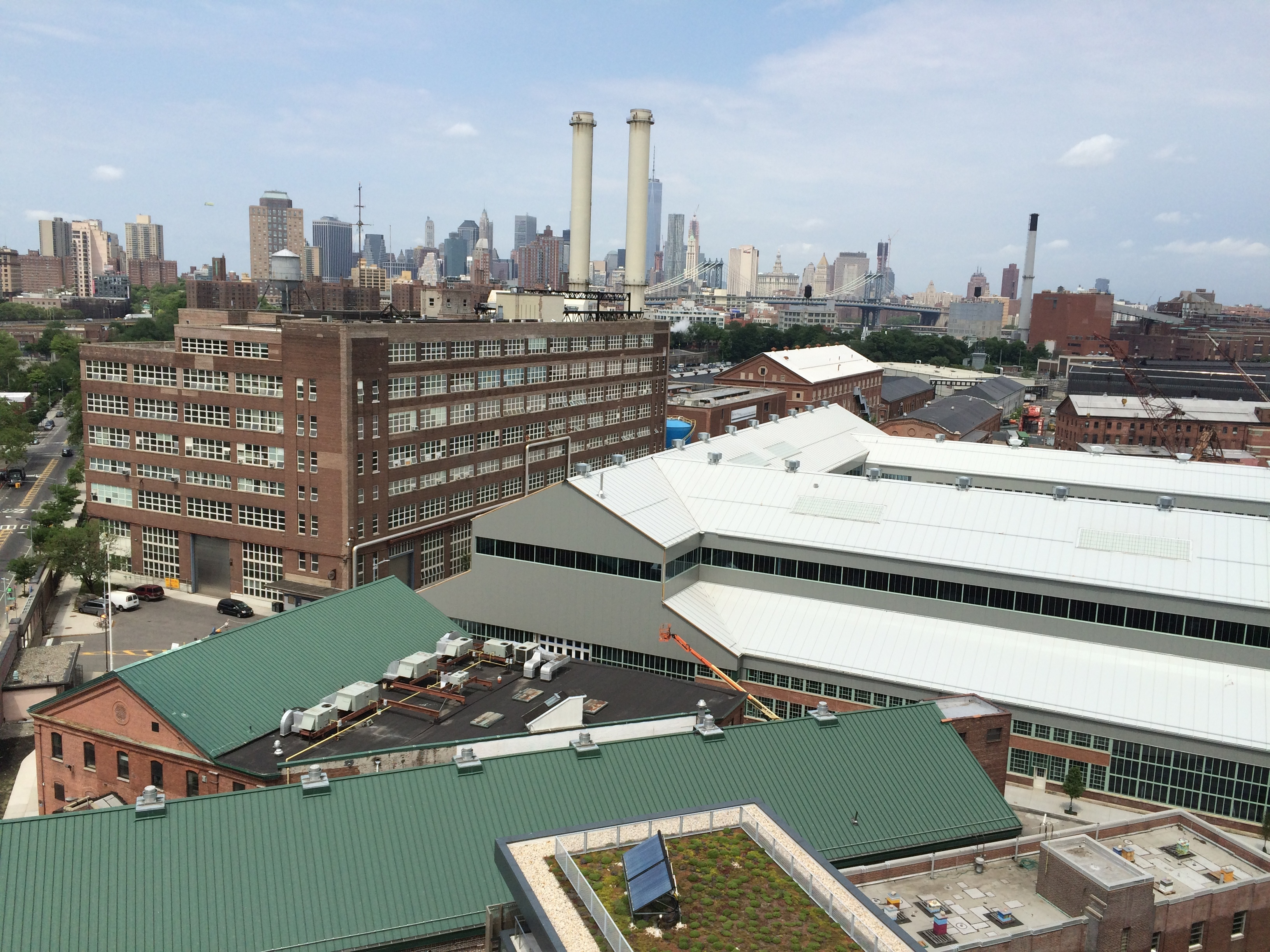 Aerial view of historic and modern buildings at the Navy Yard