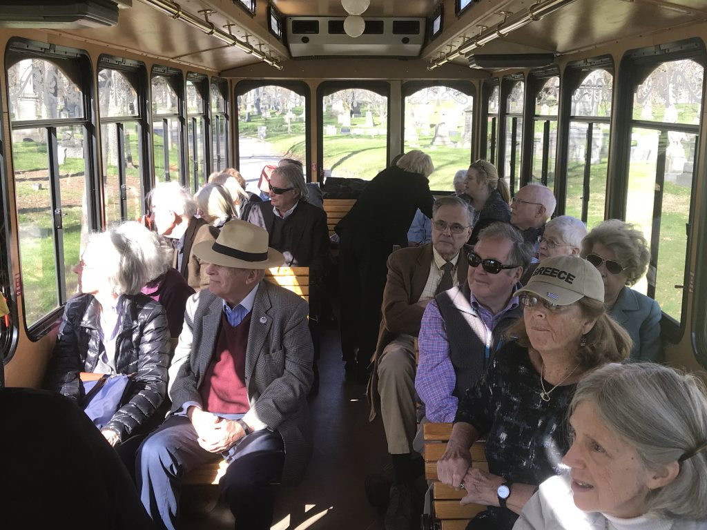 Trolley tour of cemetery